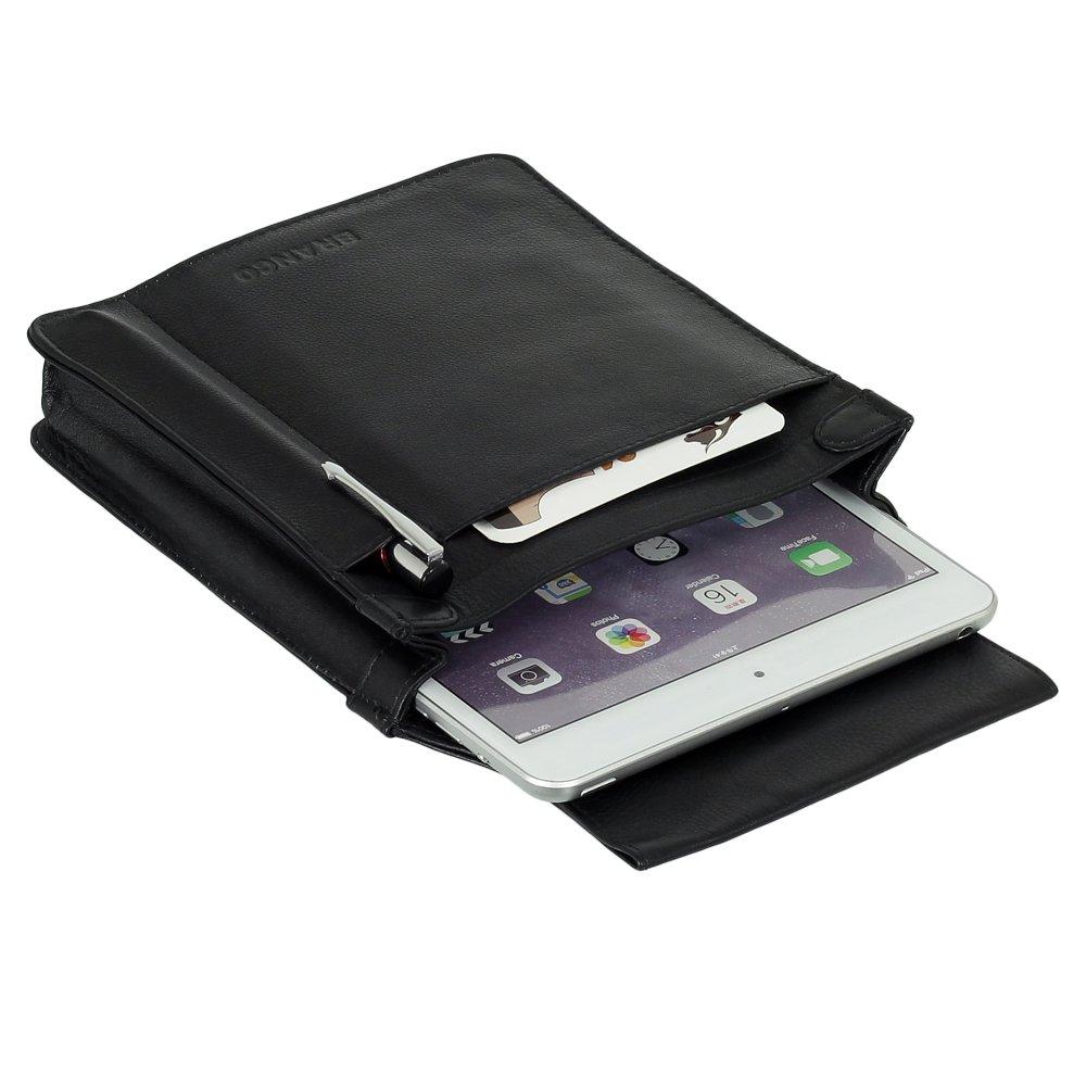 Profi Leder Tablet-Kellnertasche passend für iPad Mini bis 8 Zoll Rindsleder Schwarz