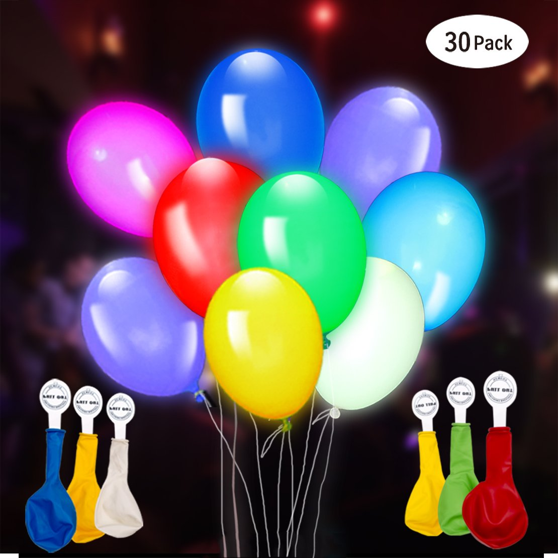 GIGALUMI 30 Pack LED Light Up Balloons, Premium Mixed-Colors Flashing Party Lights Lasts 12-24 Hours, Ideal for Parties, Birthdays and Wedding Decorations, Fillable with Helium, Air 6846