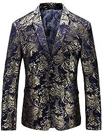 fcbcc39ef7c53 Men s Luxury Casual Dress Floral Suit Notched Lapel Slim Fit Stylish Blazer  Jacket Party Coats