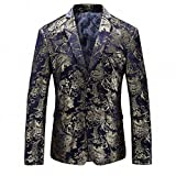 WULFUL Mens Luxury Casual Dress Floral Suit Notched Lapel Slim Fit Stylish Blazer Jacket Party Coats