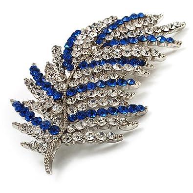 Avalaya Statement Crystal Leaf Brooch (Clear & Blue) 6TnAdX2Wob