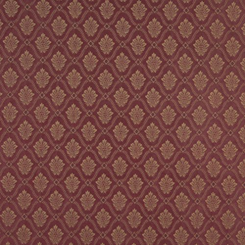 (A489 Burgundy And Gold Two Toned Brocade Medallion Upholstery Fabric By The Yard )