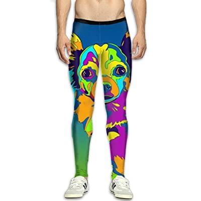 GFGRFDD Men's Multi-Color Long-Haired Chihuahua Dog Sports Compression Tight Leggings