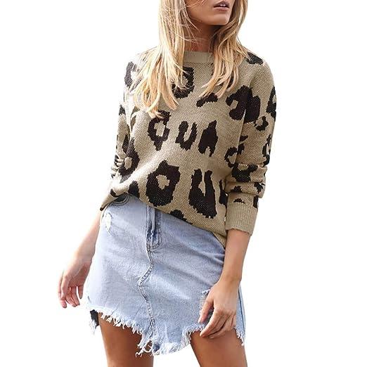 ❤ Suéter Leopardo de Las Mujeres, Las Mujeres de Gran tamaño de Moda de Punto de Manga Larga Jerseys suéter Flojo Absolute: Amazon.es: Ropa y accesorios