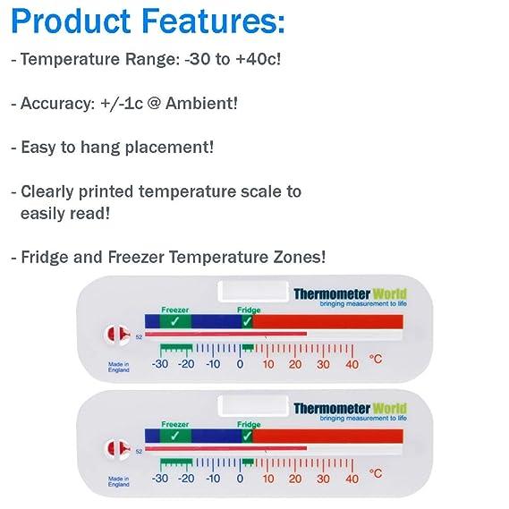 Termómetro para congelador y frigorífico, 2 unidades: Amazon.es ...