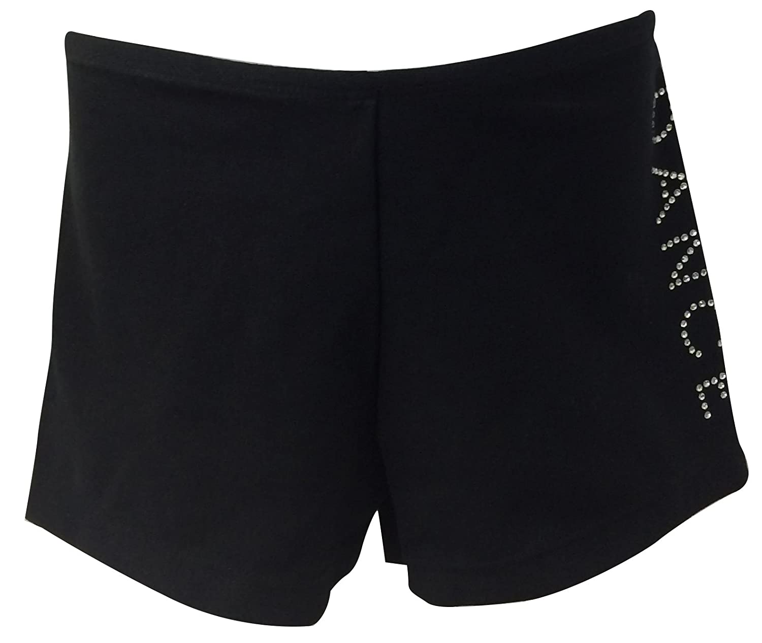 Big Girls Black Dance/Gym Shorts with Rhinestones Dance Print