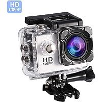 Vbestlife Mini Videocámara Deportiva a Prueba de Agua 1080P Ultra HD 32GB Action Camera al Aire Libre Baterías Recargables con Soporte para Buceo, Nadar, Ciclismo, etc. (Blanco)