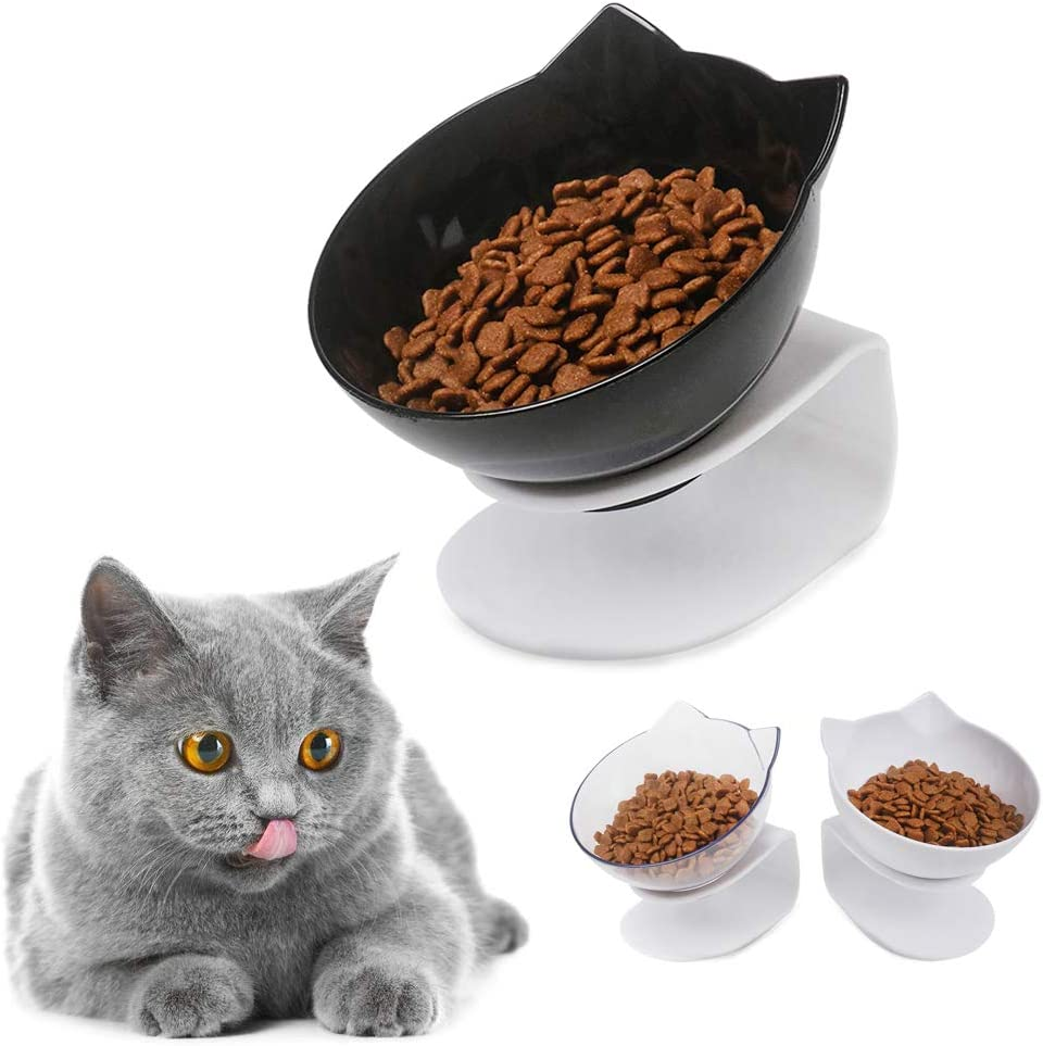 Cat Food Bowls Cat Elevated Double Bowl Raised Cat Dog Feeding Bowl with Raised Stand 15° Tilted Pet Food Water Feeder Bowl for Cats Small Dogs Kitten Dishes Rabbits, Anti Vomiting Reduce Neck Pain