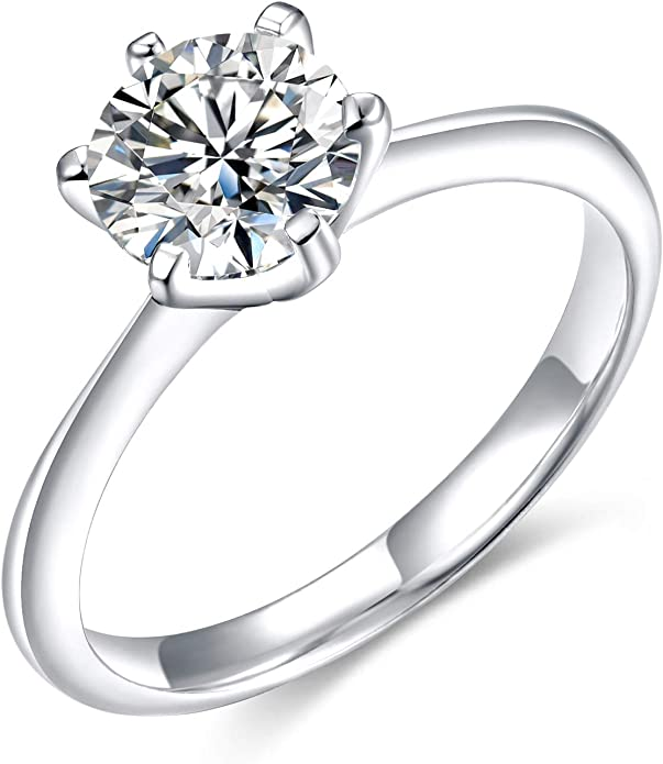 Eamti 925 Sterling Silver 1 25 Ct Round Solitaire Cubic Zirconia Engagement Ring Halo Promise Ring Size 5 11 Clothing Shoes Jewelry Women