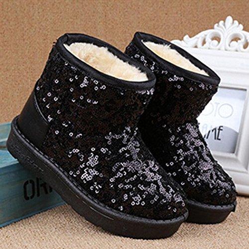 Igemy Sequins Stiefel Säugling Kleinkind Baby Mädchen Jungen Kinder Winter Dick Schnee Stiefel Schuhe 1 Paar Schwarz