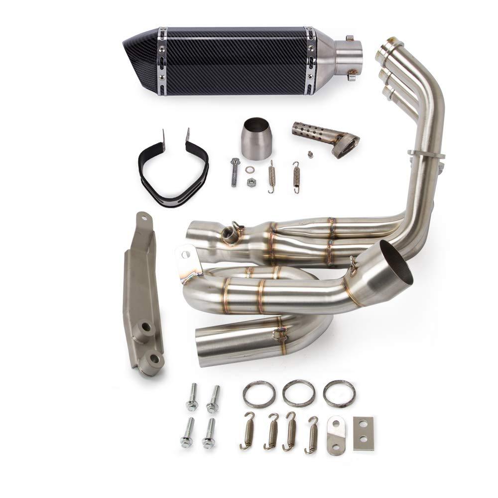 Moto Syst/ème d/échappement complet T/ête d/échappement Boucle Silencieux avant pour YAMAHA MT09 FZ09 MT-09 FZ-09 2014-2018 XSR900 EP019 PAS pour Tracer