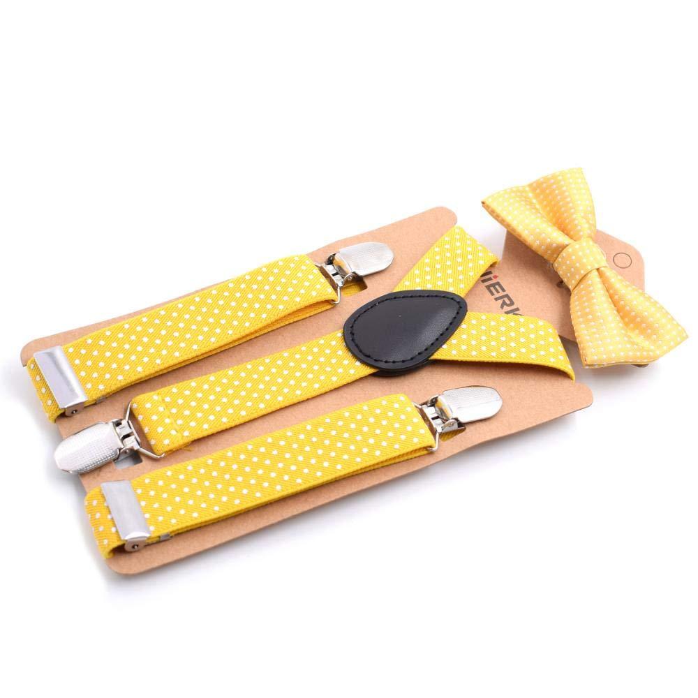 set di accessori a forma di papillon Bretelle maculate a forma di Y regolabili bretelle clip-on per bambini