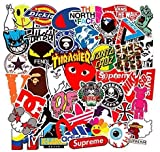 Fashion Brand Stickers[100PCS] - Street Culture Graffiti Patch Logo Sticker for Thrasher Vans Supreme - Waterproof Vinyl Decals for Skateboard Snowboard DIY Laptop Motorcycle Car Luggage Waterbottle