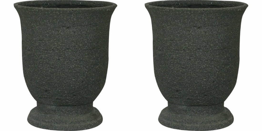 Stone-Like Durable Urn Planter - UV, Weather and Impact Resistant - 11'' Dia - Set of 2 (Aged Black) by WILLIAMS BAY PRODUCTS