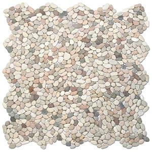 Mini Island Mix Pebble Tile 1 sqft Mesh Mounted Marble Tiles