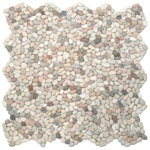 Mini Island Mix Pebble Tile 1 sq.ft. (Mesh - Mosaic Stone Pebble Floor