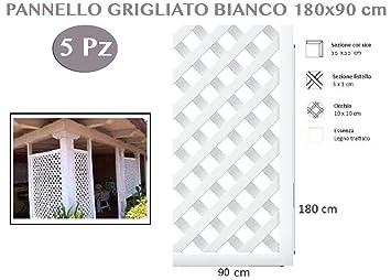 1713896 Panneau grillagé en bois de couleur blanc de jardin 5 pièces ...