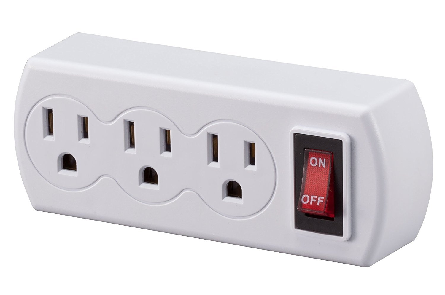 WalterDrake 3 Plug Outlet Switch,White