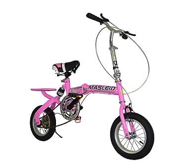 MASLEID bicicleta plegable de 12 pulgadas para estudiantes de los niños (Rosa)