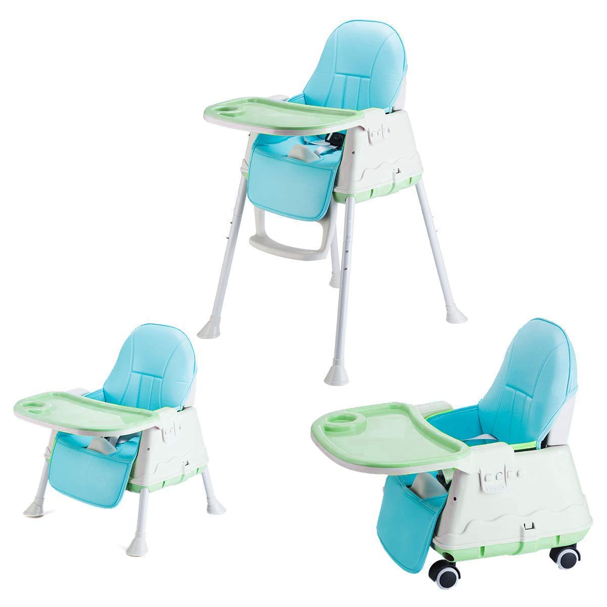 Buy Syga High Chair For Baby Kids Safety Toddler Feeding Booster Seat Dining Table Chair With Wheel And Cushion Green Online At Low Prices In India Amazon In