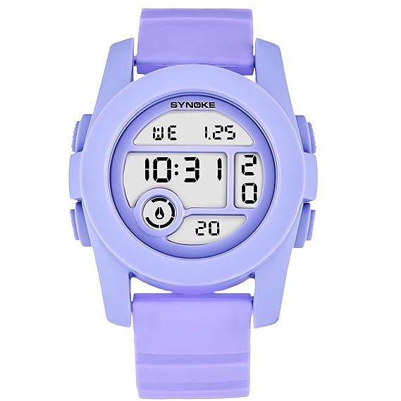 Relojes Elegante para Mujer Impermeables Relojes Digitales para Niñas Marca Púrpura: Amazon.es: Relojes