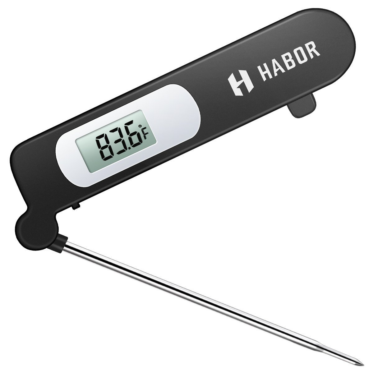 Habor Food Thermometer, Meat Thermometer Kitchen Instant Read Thermometer with Digital LCD, Folding Long Probe for BBQ Grill Smokers Kitchen Chicken Cake Brewing Milk CP3B