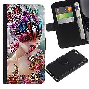 """Be-Star la tarjeta de CršŠdito Slots PU Funda de cuero Monedero caso cubierta de piel Para Apple iPhone 5 / iPhone 5S ( Arte Lick Mujer Mariposa de Primavera Resumen"""" )"""