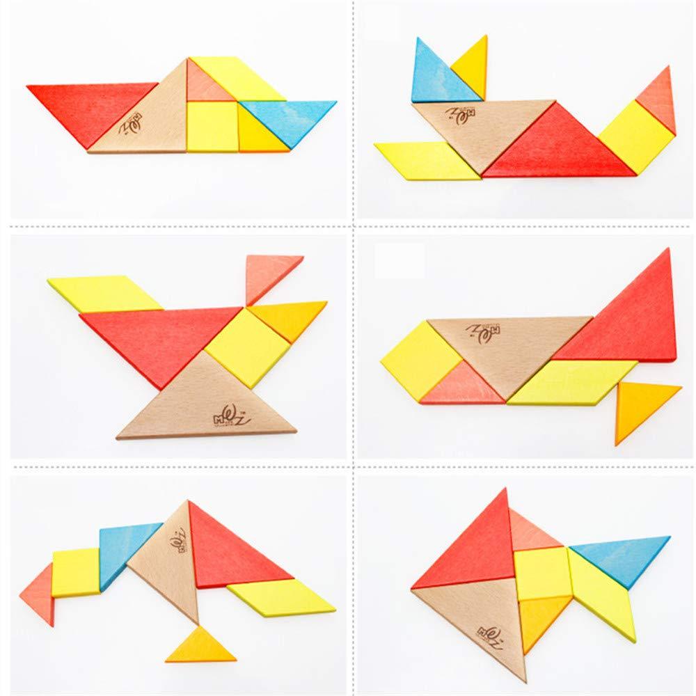 Gobus 7 Piezas Colorido Rompecabezas De Madera Tangram Conoce A Los Maestros Del Origami Entrenamiento Cerebral Juguete Educativo Para Nios Pequeos Un Pequeo Llavero Como