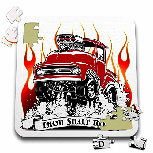 3dRose Mark Grace HOT RODS - live to rod - Thou shalt rod with the race truck rising from the flames - 10x10 Inch Puzzle (pzl_243292_2)