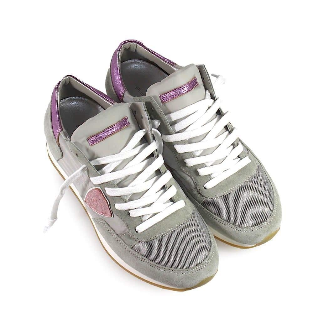 - PHILIPPE MODEL Women's TRLD1114 Grey Suede Sneakers
