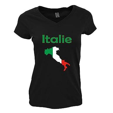 Col L'italie De V Yonacrea T Noir Femme Shirt Carte TlKJF1c