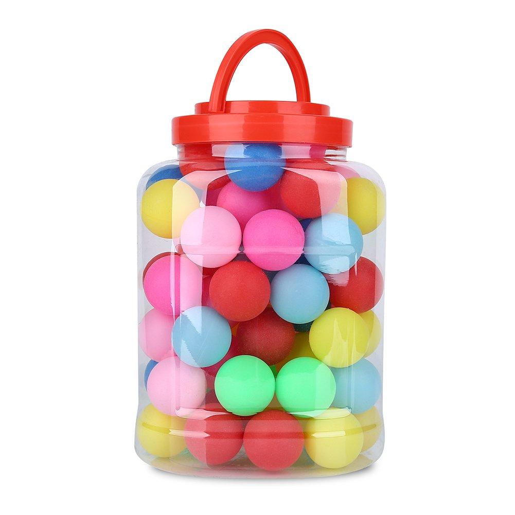 Balls Coloré de Tennis de Table Boule Ping-pong 40mm Balles Loterie Boule de Jeux de Divertissement Décoration Multi-couleurs avec Boîte de Rangement Lot de 60PCS VGEBY