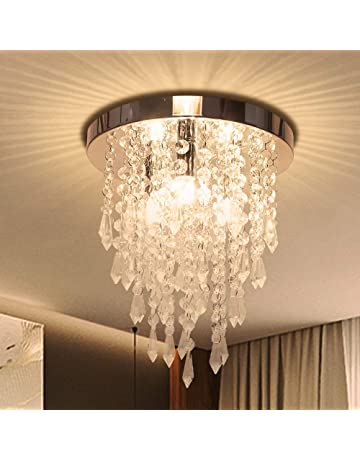 0f02d4ff48 Crystal Chandelier, Kakanuo Modern Crystal Ceiling Light, 3 Lights Flush  Mount Crystal Light Fixture
