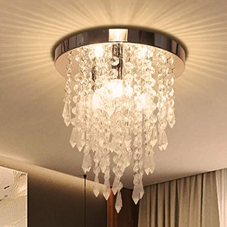 Crystal Chandelier, Kakanuo Modern Crystal Ceiling Light, 3 Lights Flush  Mount Crystal Light Fixture H10.4\