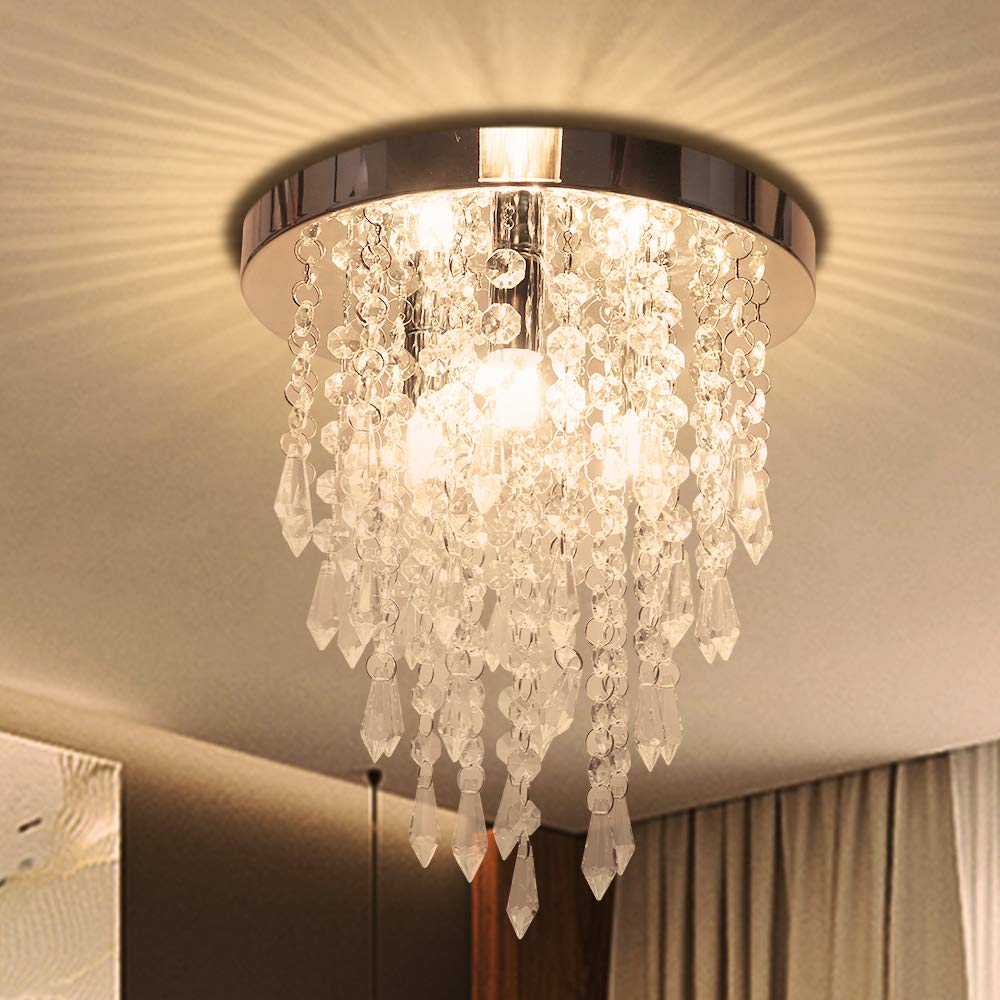 Crystal Chandelier, Kakanuo Modern Crystal Ceiling Light, 3 Lights Flush Mount Crystal Light Fixture H10.4'' X W9.8'', for Bedroom, Hallway, Living Room, Kitchen, Dining Room, Bathroom, Cloakroom