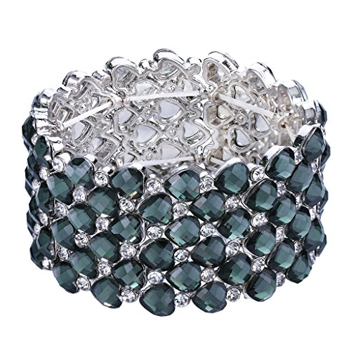 (BriLove Women's Bohemian Boho Crystal Bubble Beaded Multi Heart Shape Round Stretch Cuff Bracelet Grey Silver-Tone)