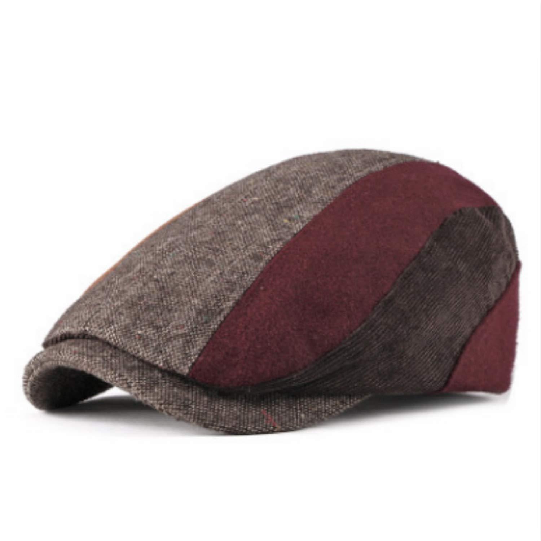 Plaid Winter Corduroy Beret for Men Adjustable Striped Male Ivy Flat Cap Thick Warm Vintage Cabbie Peaked Cap