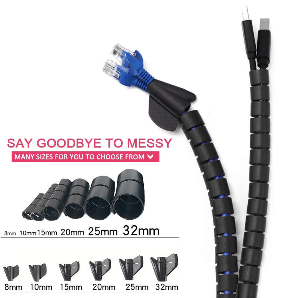 10mmx1.5m 13mm Kabelschutz f/ür Kabelorganisation zu Hause und im B/üro Schwarz SENDILI kabelklemme Selbstklebend /& Kabelschlauch