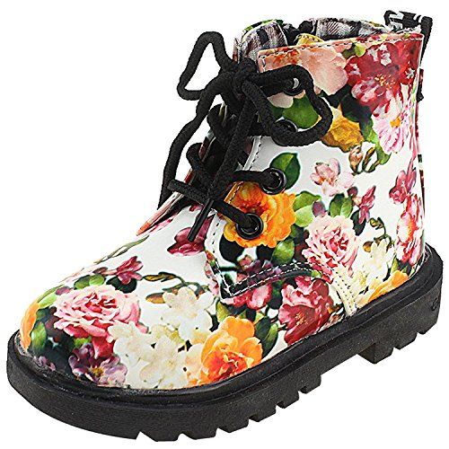 IOO Flower Girls Waterproof Dress Boots With Floral Print Lace Up Fashion Casual Boots For Toddler Girl White 27
