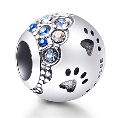 ecb244bb5 Sambaah Dog Paw Charm Sterling Silver Puppy Pet Paw Charm with Cubic  Zirconia Crystals fit Pandora
