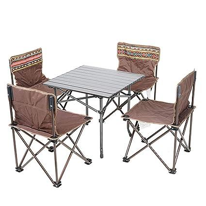Miraculous Amazon Com Aluminium Portable Folding Picnic Table Chairs Inzonedesignstudio Interior Chair Design Inzonedesignstudiocom