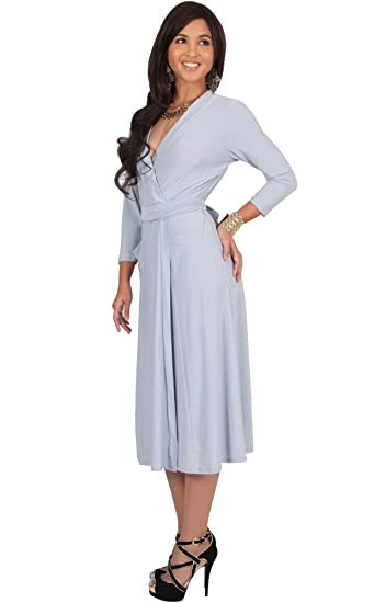 e97a5dffc7c KOH KOH 3 4 Sleeve V-Neck Wrap Knee Length Semi Formal Long Midi Dresses at  Amazon Women s Clothing store