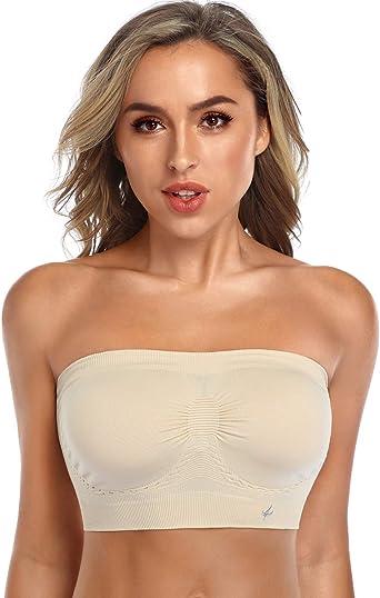 Women/'s Wireless Padded Bandeau Bra Crop Tube Tops Strapless Bralette Vest