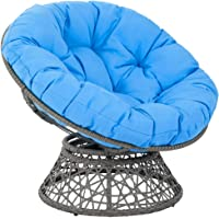wentgo Round Papasan Chair Cushion, Thick Comfortable Outdoor Egg Seat Cushions with Ties, Lounge Garden Wicker Seat…