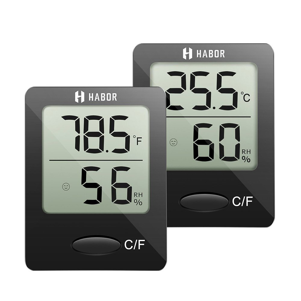Habor Hygrometer Thermometer (2 Pack) Digital Indoor Humidity Monitor Humidity Gauge Humidity Meter With Standing Wall Hanging Magnet for Humidifiers Dehumidifiers Greenhouse Basement Babyroom