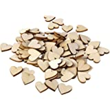 DSYJ Plain Wooden Heart Embellishments for Crafts 30mm