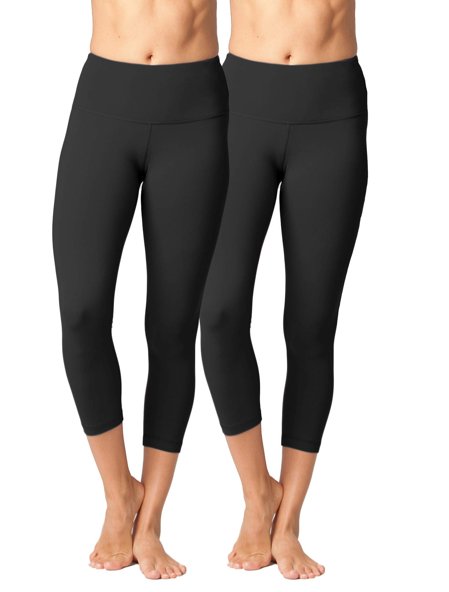 Yogalicious High Waist Ultra Soft Lightweight Capris - High Rise Yoga Pants (XS, Black 2 Pack)