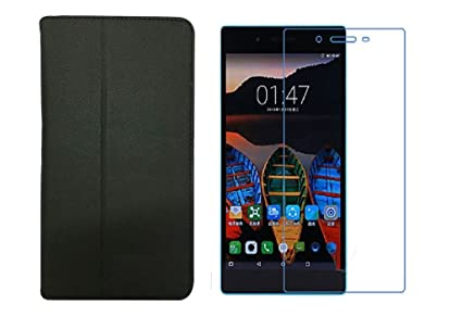 release date: e670d 7f416 Colorcase Tablet Flip Cover Case for Lenovo Tab 3 730x - Black with  Tempered Glass (Combo Set)