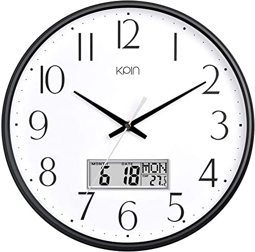 Kpin Classic Wall Clock 13 Inch Large Non Ticking Quiet Quartz Clock for Living Room Office Black, 13 LCD