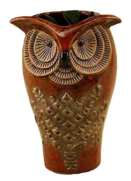 Amazon Youngs Ceramic Owl Vase 9 Inch Home Kitchen